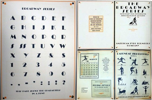 Algunas páginas, en particular la de las cifras, del libro The Broadway Series, que es un libro de muestras de la fuente tipográfica Broadway