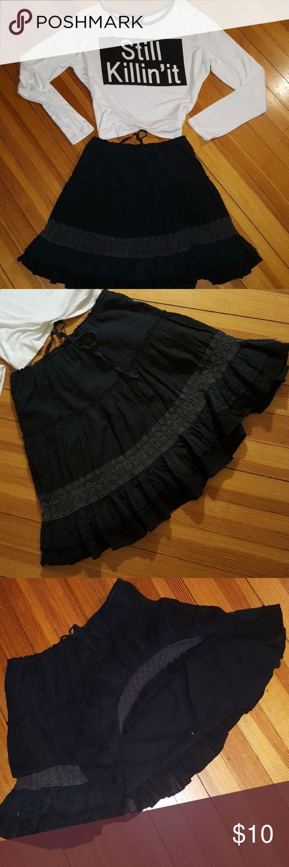 Fabulous Double Layered Skirt Awesome layered skirt. Ruffled down with a round cotton layer underneath. A semi sheer embroidered band before last tier. And lastly it is a drawstring. @barbarajeannef Aeropostale Skirts Circle & Skater