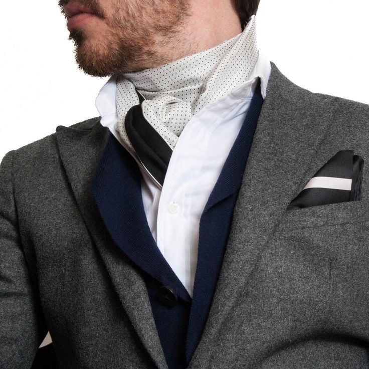 Men's Scarf Styles | Men's Silk Scarf, White Dress Scarf, Polka Dot Evening Scarf