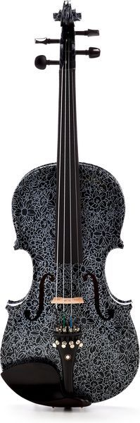 Violin  Size: 4/4, Solid wood, Solid spruce top, Solid maple back and sides, Ebony fingerboard, Ebony tailpiece and tuning pegs, Black Flower motif, Incl. Case, bow and rosin