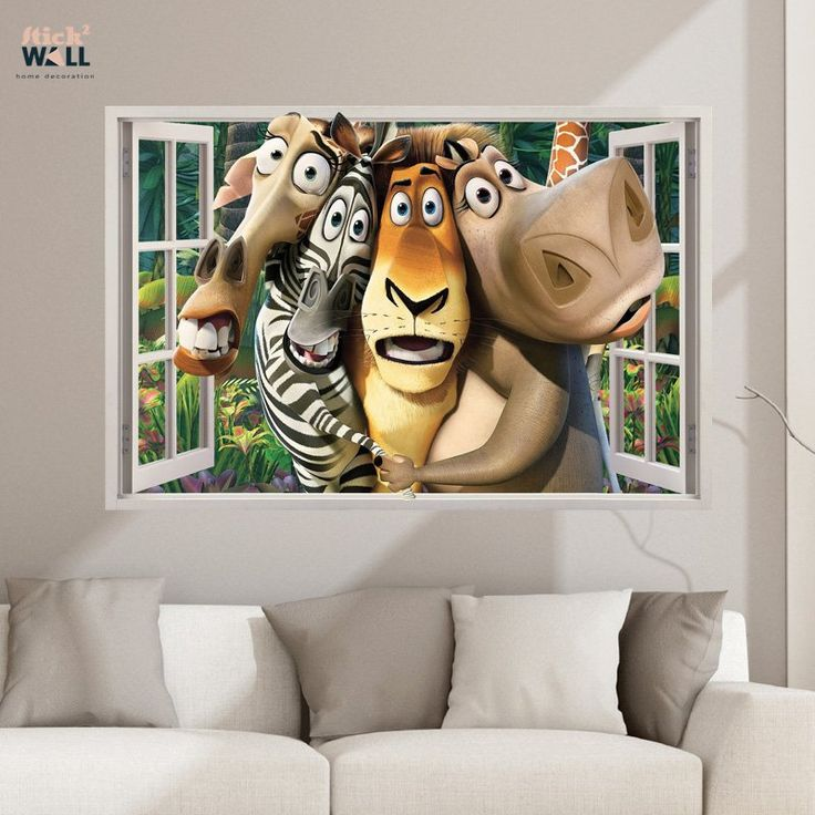 Kids bedroom 3d wall sticker vinyl decal window view madagascar from stick2wall com