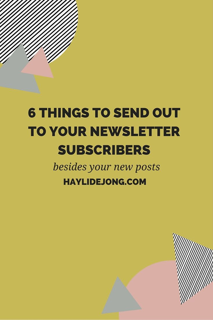 "Are you completely lost as to what you should send out to your e-mail list? Well I have some ideas for you. Click through to get some fresh new ideas to send out to your newsletter subscribers BESIDES just the typical ""I have a new post, go check it out"" updates."