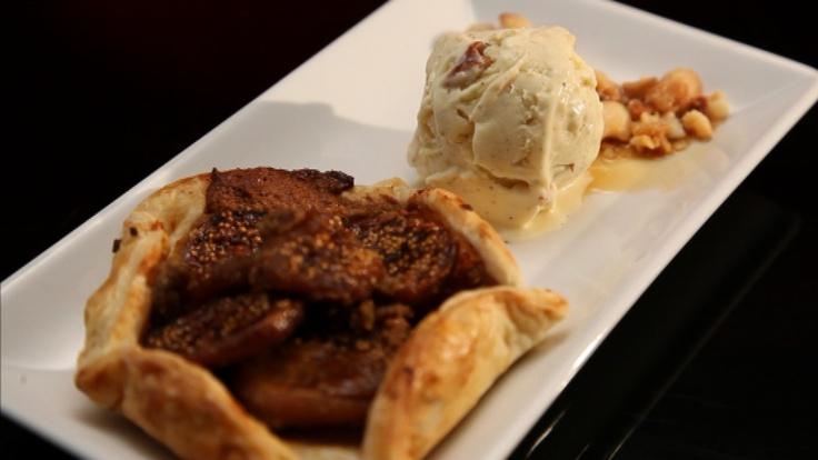 Fig Galettes with Maple and Macadamia Liquid Nitrogen Ice Cream