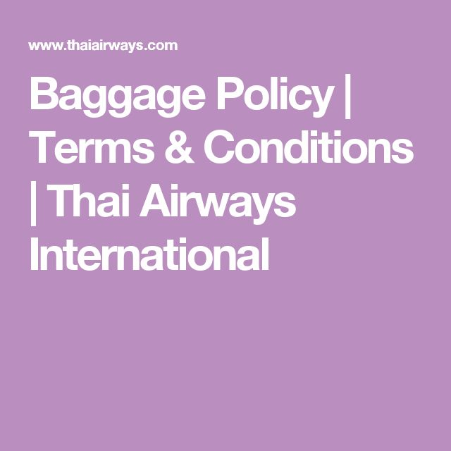 Baggage Policy | Terms & Conditions | Thai Airways International