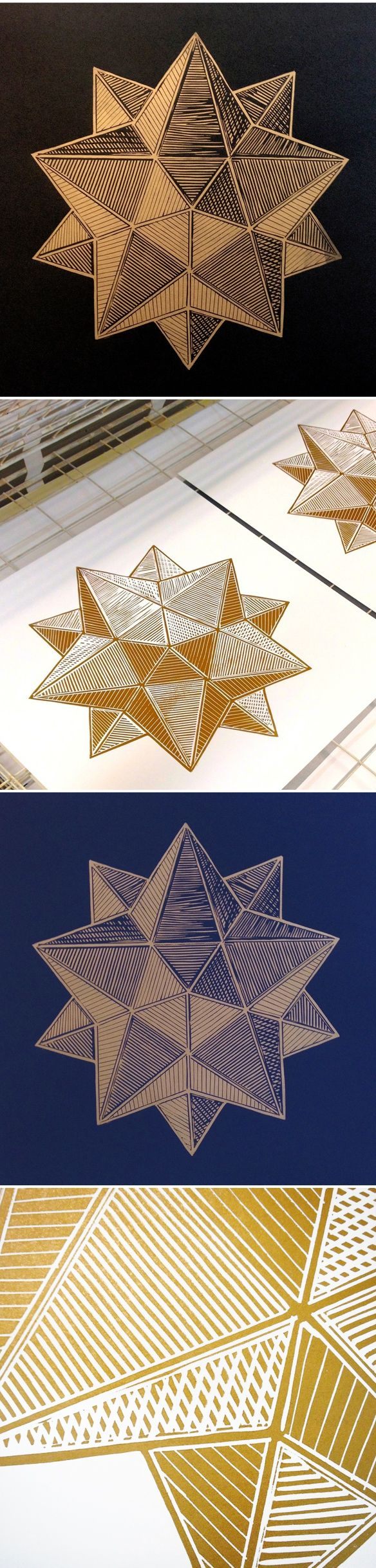 linocut prints by monika petersen (and metallic ink!)