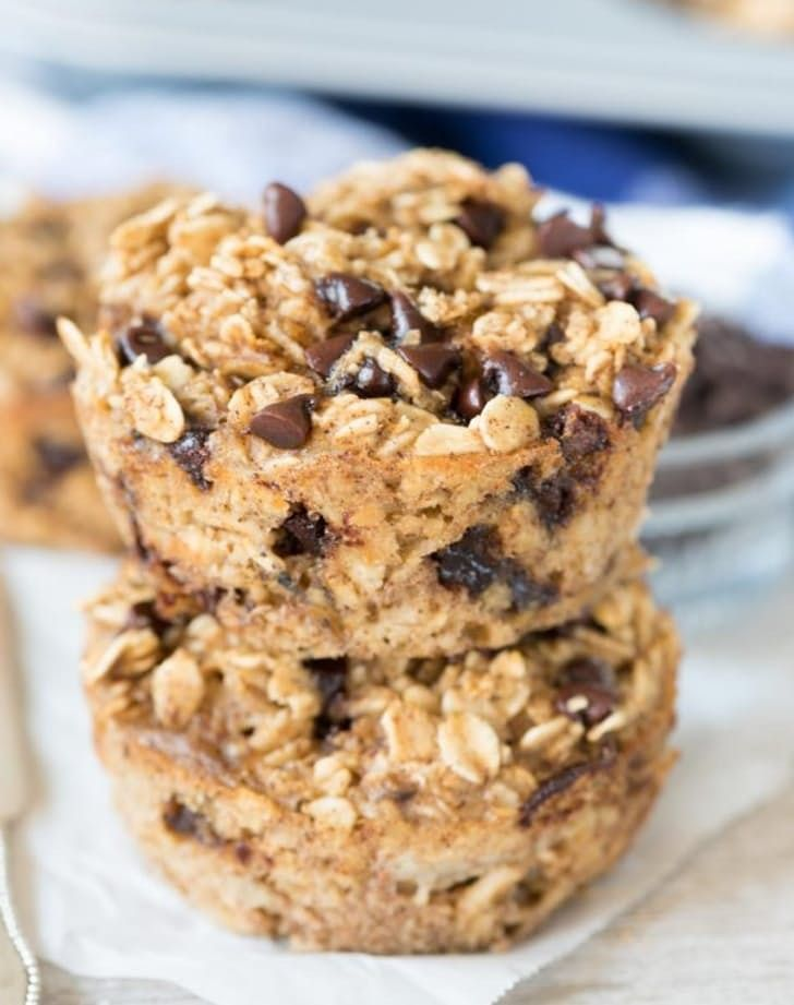 Chocolate chip baked oatmeal muffins. Make this homemade (and healthy) lunchbox snack for your kids. And make some extra for yourself, of course.