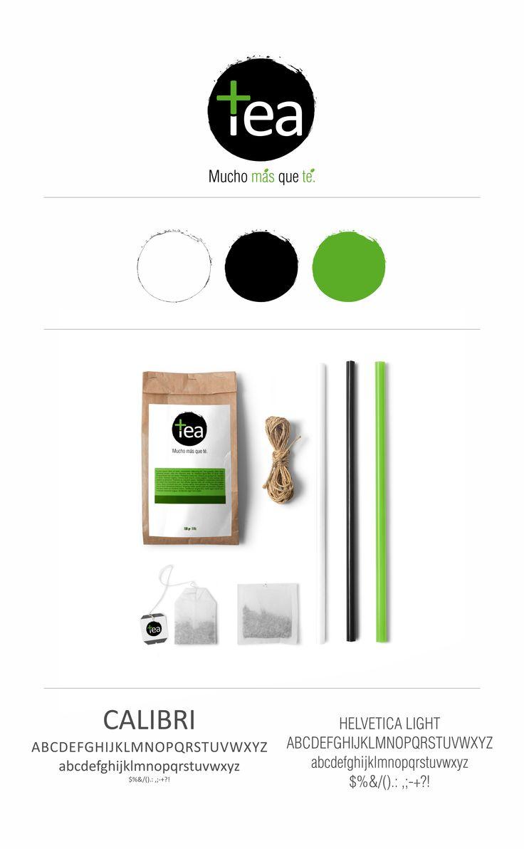 Plus Tea brand presentation graphic design, logo, colors