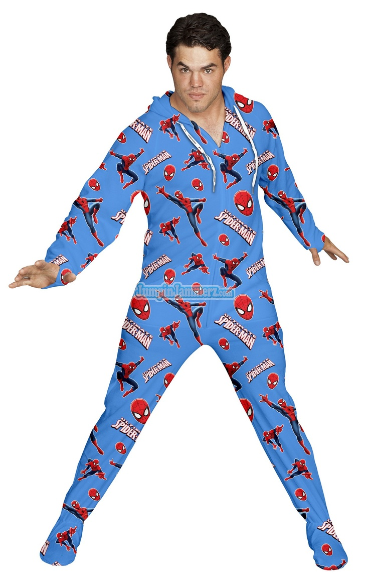 Spiderman marvel comics pajamas footie pjs onesies one piece adult