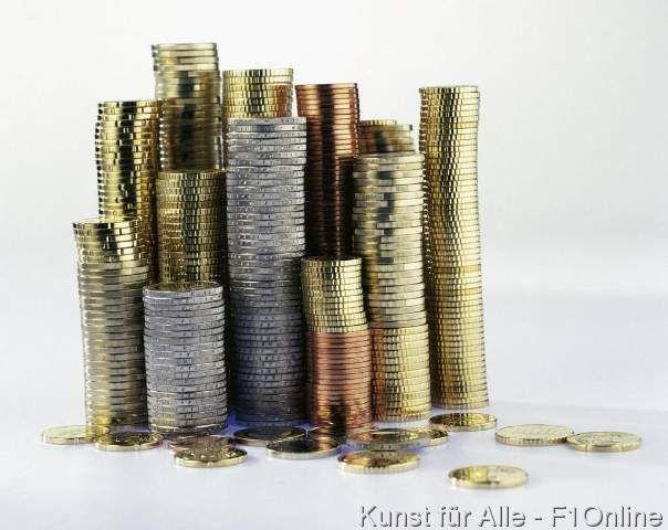 Münzen Hartgeld Währung gestapelt Stapel Euro Euro-Münzen Geld Zahlungsmittel Europa Metall