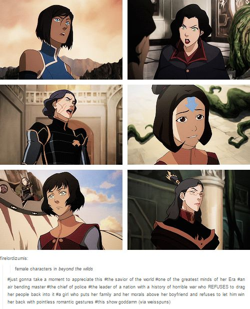 Female characters in Legend of Korra, episode:  Beyond The Wilds.  Important.