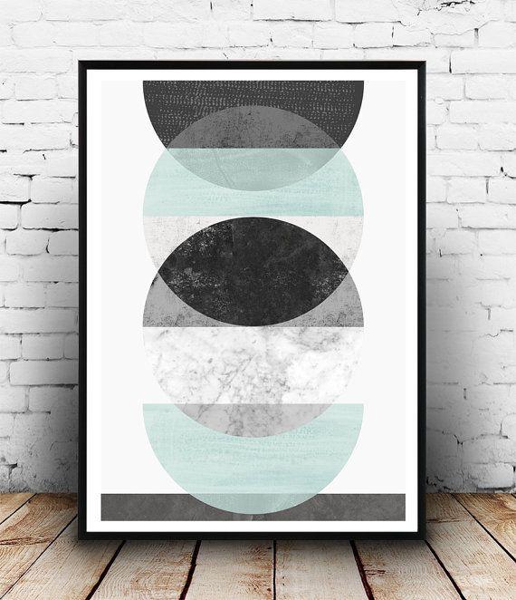 Imprimir Acuarela abstracta, geométrica, mármol impresión, póster minimalista, decoración de la pared de impresión, moderno escandinavo, Turqouise gris, arte abstracto