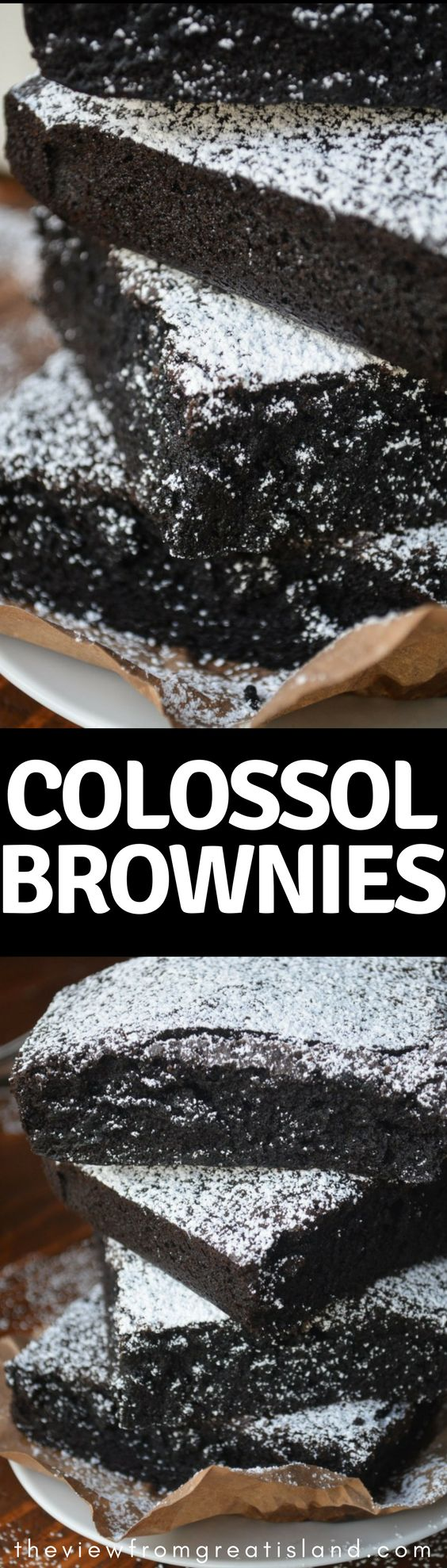 Colossal Brownies ~ lusciously large and decadently dark, because when it comes to chocolate, I say go big, or go home! #brownies #dessert #bestbrownies #chocolate #easybrownies #darkchocolate #chocolatecake