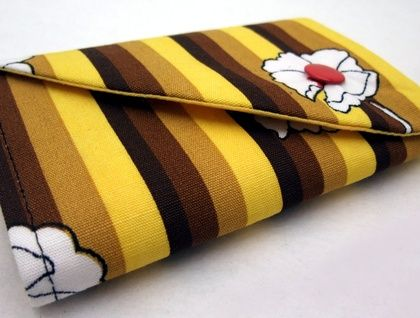 Wallet - Yellow and tan stripe with floral accent