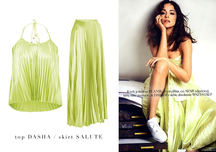 Don't miss out on this week's new arrivals – pleated DASHA top and SALUTE skirt, available in green and gold! Wear them with high heels or sneakers! #LaMania #Style #Summer