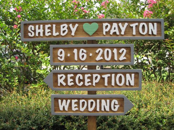 Wedding Signs 4 with Base Personalized by PrattosCreations, $65.00