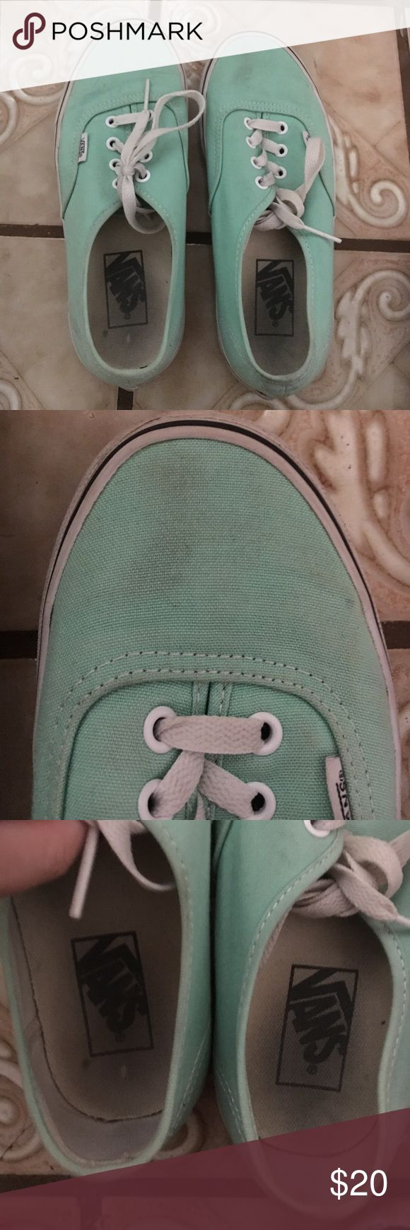 Mint vans Super cute mint vans, they're in pretty good used condition! There is discoloring near the toe of the right shoe but I think it could come out with a wash. It's not super noticeable though. Feel free to make offers! No lowballs please Vans Shoes Sneakers