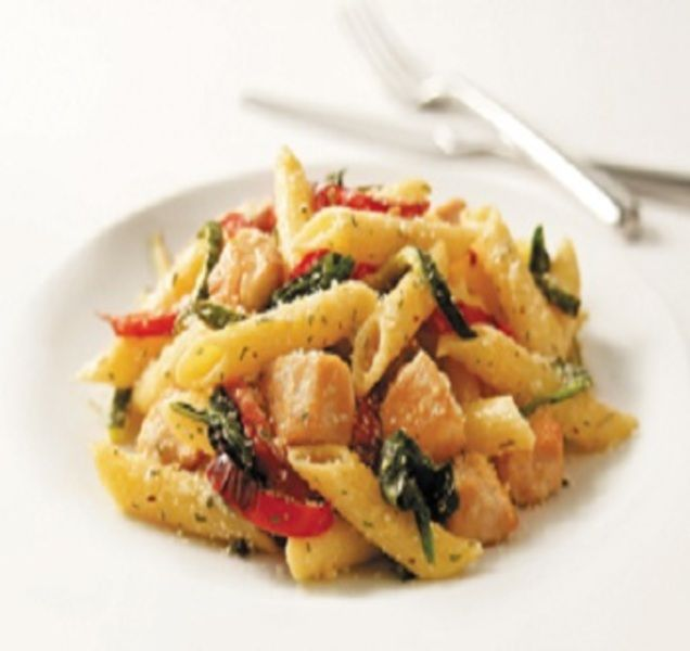 Chicken-Pasta Primavera is an easy and delicious Italian casserole recipe for an any day of the week meal. Features include: Chicken, penne pasta, zucchini, bell peppers, spinach and Parmesan cheese. It is also a healthy, low fat, low cholesterol, low sodium, low sugars, low carbohydrates, heart-healthy, diabetic and Weight Watchers (8) PointsPlus recipe. Makes 6 servings.