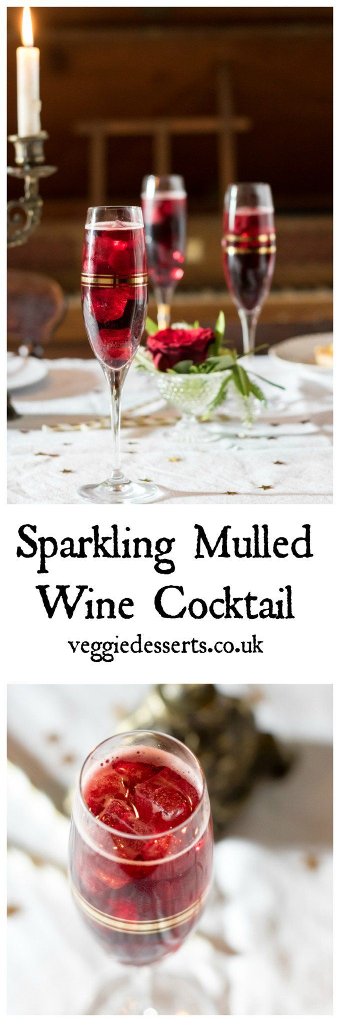 This sparkling mulled wine cocktail is a fun twist on the classic Christmas drink. It is served cold over ice! #christmas #christmascocktail #mulledwine