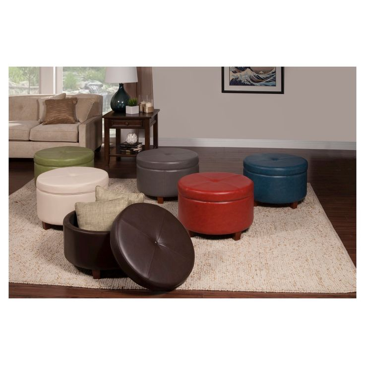 Add A Chic Accent To Your Room With A Homepop Large Round Storage Ottoman This