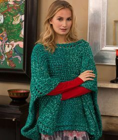 Boat Neck Poncho Free Knitting Pattern from Red Heart Yarns