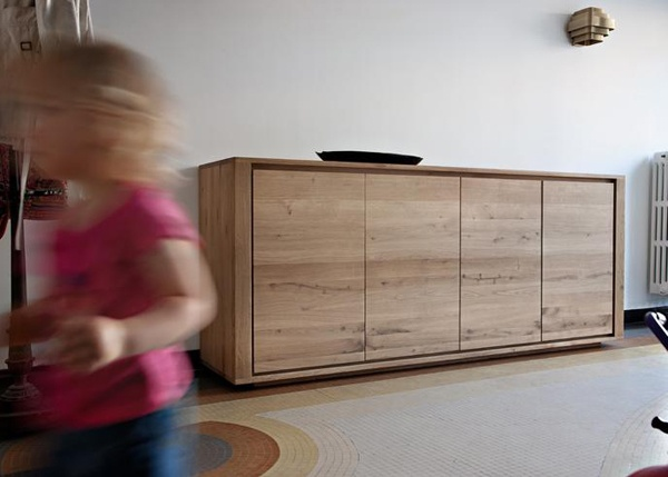 Sideboard with 4 doors by Ethnicraft. Ethnicraft produces simple, authentic & functional furniture in a timeless, contemporary design with respect for the environment and our society. Materials: European Oak Dimensions: H 84cm x W 203cm x D 45cm