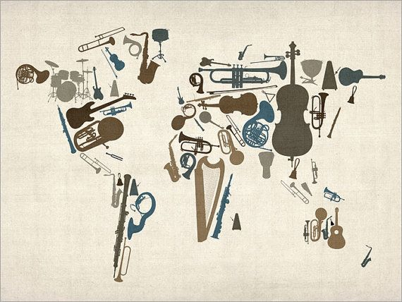 Music Instruments Map of the World Map, Art Print by artPause on Etsy