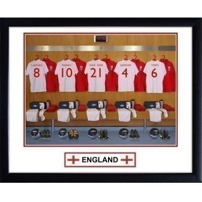 Treat your favourite England supporter to a Personalised England Football Team Dressing Room Photo where they become part of the men's England team! Choose their name and it features on the back of the centre shirt.  £29.99