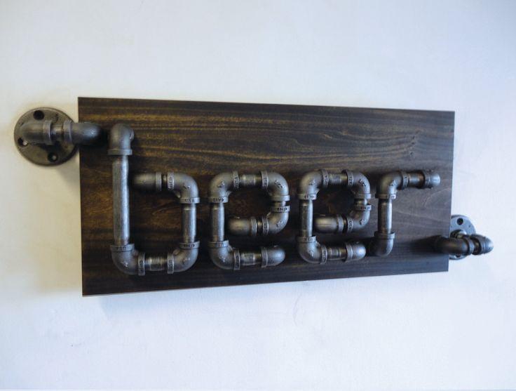Industrial Black Pipe Beer Sign The Rampant by Mobeedesigns