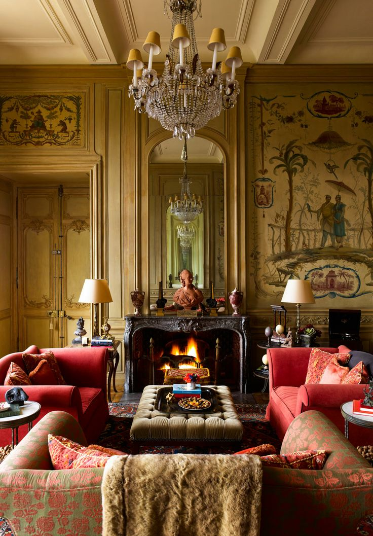 Timothy Corrigan ~ his French chateau - Living room-salon