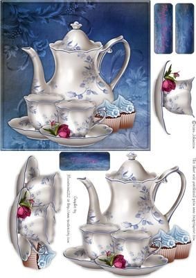"""Blue Tea time on Craftsuprint designed by Karin Johansson - This is a 6x6"""" card that is suitable for any occasions. - Now available for download!"""