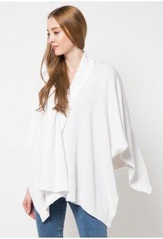 Wanita > Pakaian > Outerwear > Jaket & Coat > Ladies Poncho > Noir Sur Blanc