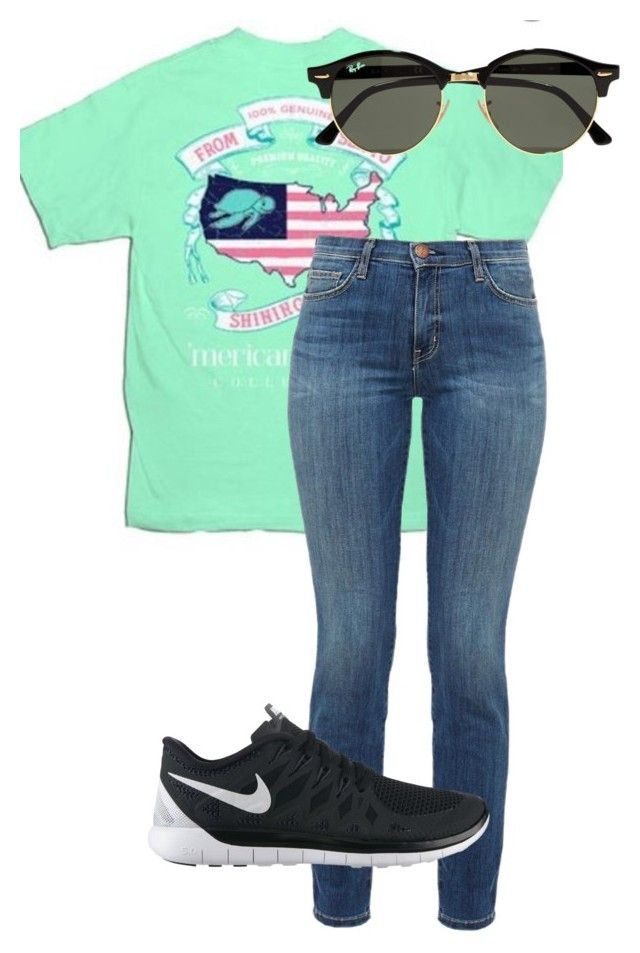 """Kings Island outfit 1 "" by duhitzmarksgirlfriend on Polyvore featuring Current/Elliott, NIKE and Ray-Ban"