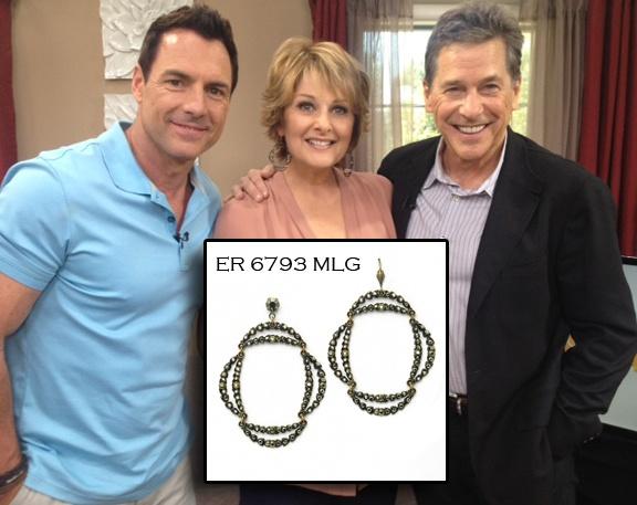 Cristina Ferrare wearing AKD earrings ER 6793 MLG. Available at annekoplik.com. $95. #earrings #akd #celebrity #tv #homeandfamily #homeandfamilytv