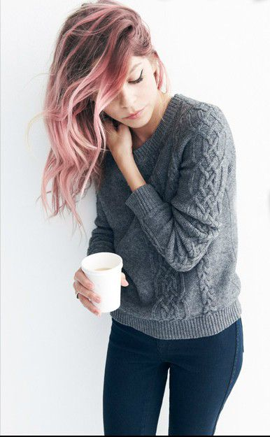 Pink/Grey Highlights. I just really love basic cable sweaters.: