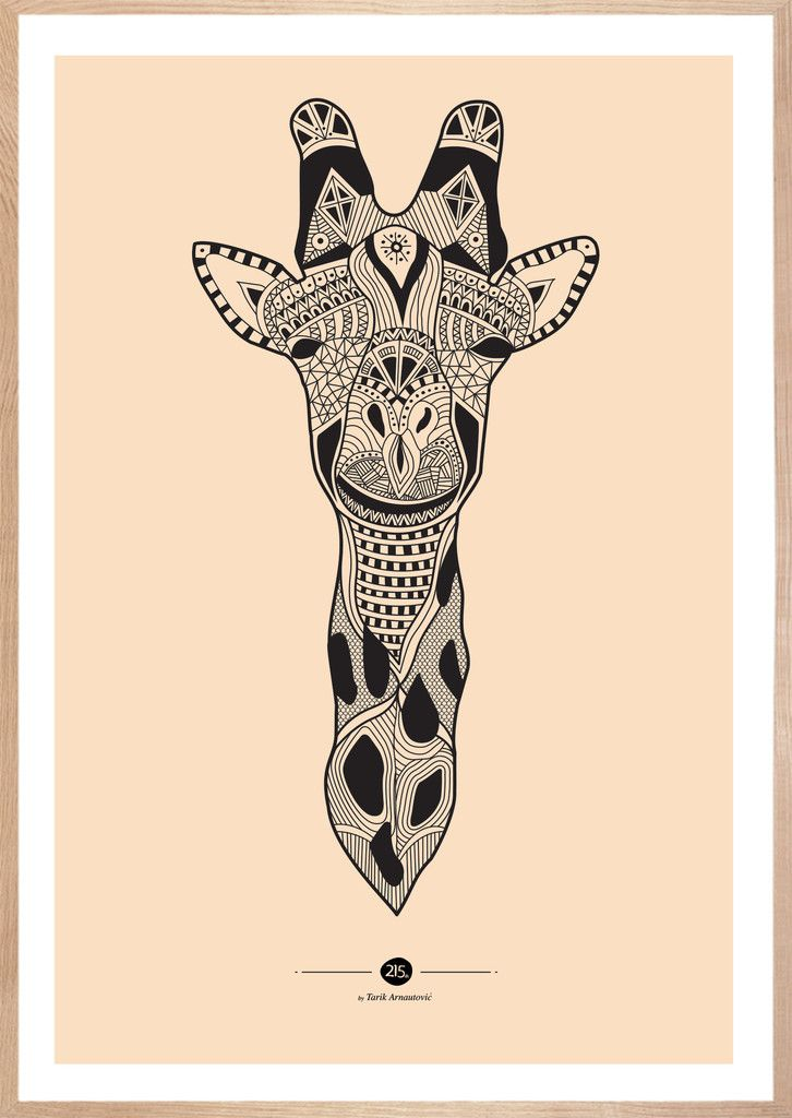 Inca Giraffe, pink. Str. 50 x 70 cm, 275 kr.