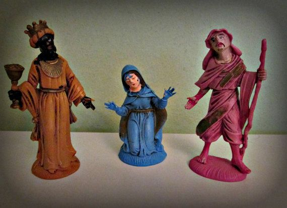 Antique Three Figurines Christian Statue Statues Two