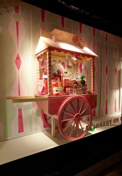 Prop Studios for Libertys: Fairground. Props Studios made and painted a candyfloss cart in distressed timbers with realistic detailing for the Fairground theme.