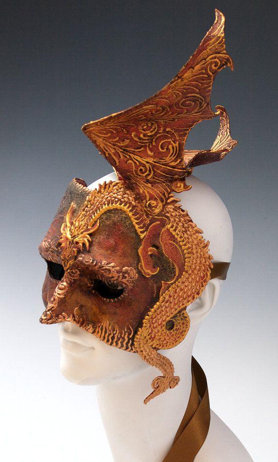 Dragon half mask by TheArtOfTheMask on Etsy, $295.00