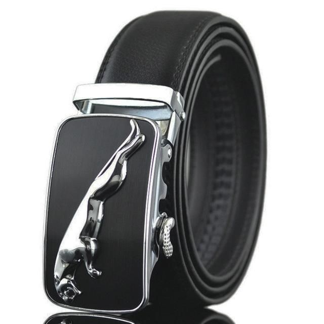 Mens Business Belt Leather Automatic Buckle Waist Strap Ratchet Waistband Strap