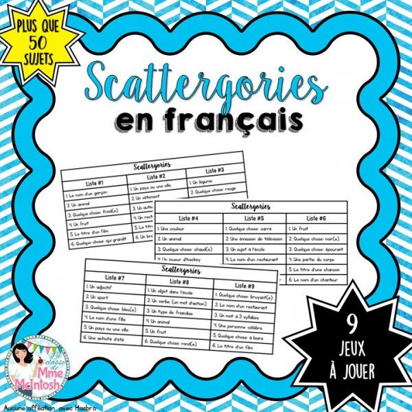 Jeu amusant - Scattergories More