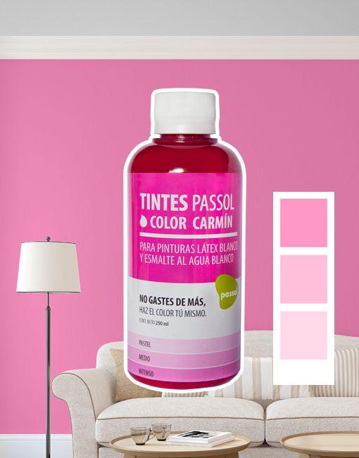 Tinte Passol Carmín para mezclar con pinturas LÁTEX y ESMALTE al agua de Passol.
