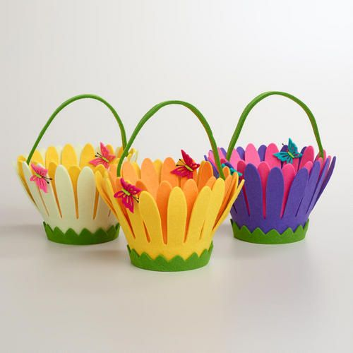 One of my favorite discoveries at WorldMarket.com: Felt Daisy Flower Containers, Set of 3