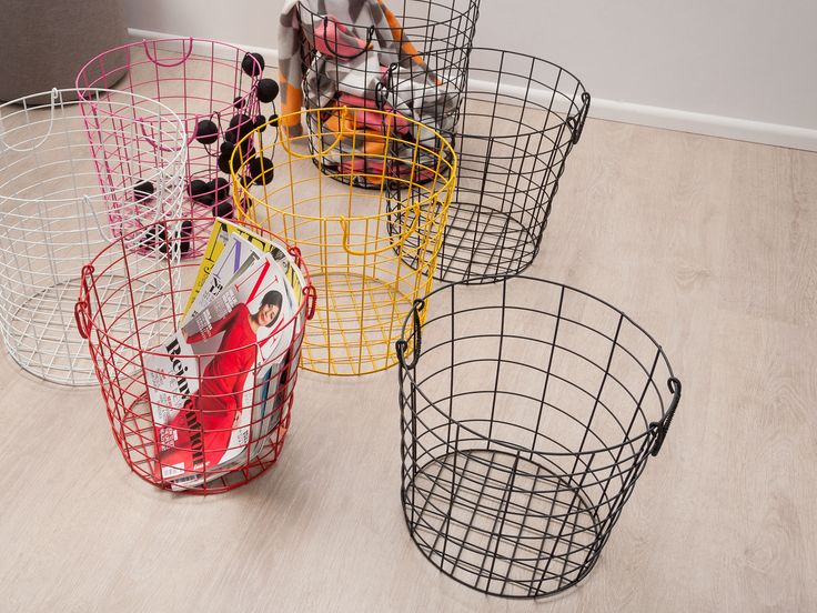 Add a pop of colour to your home with these stylish wire storage baskets.