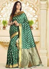 Green Color Banarsi Art Silk Designer Festive Sarees : Vinang Collection YF-64029