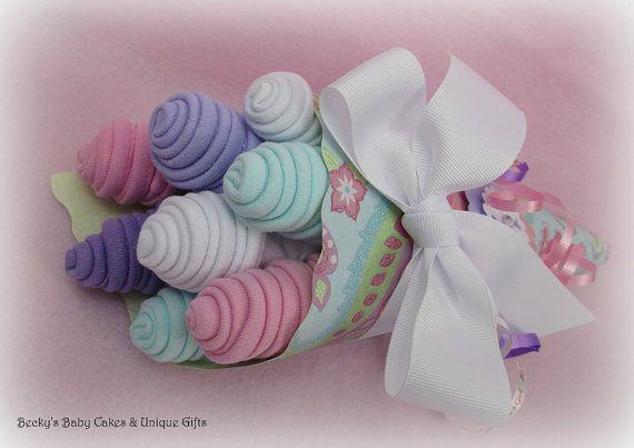 Baby Washcloth Bouquet, Baby Washcloths, Baby Shower Gift, Baby Girl Gift, New Mom Gift