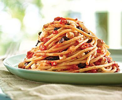 Pasta Puttanesca with Bocconcini Cheese #entree #pasta #bocconcini