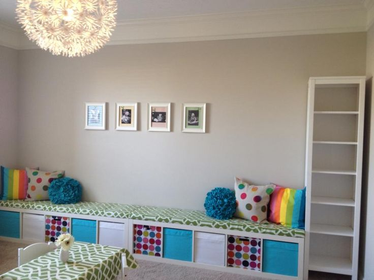 Ikea Expedit playroom bench seating | Ikea Expedit Ideas | Pinterest