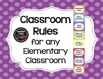"""Classroom Rules - Cute Polka Dots  Easy to understand and looks great on your wall!  Buy this item in my 'Cute Polka Dots Classroom Décor Bundle!"""" 35% off  Check out all of the coordinating 'Cute Polka Dots' items like this one in my store!  Students will be happy to follow the rules when they see these adorable rules on the wall!"""