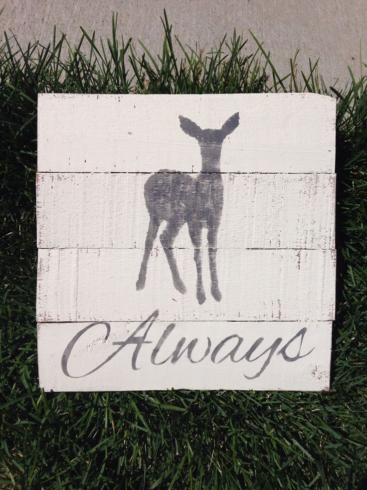 Harry Potter Doe Patronus Always Sign. Handmade from Reclaimed Wood (white) by RecycledChicMT on Etsy https://www.etsy.com/listing/243264321/harry-potter-doe-patronus-always-sign