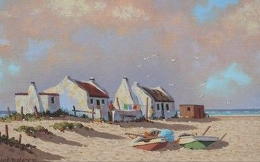 How charming are these little settlers cottages on the beach, what a life style! boats, seagulls, beautiful show of clouds in the sunset and of course the ocean! by Brian Blakemore.